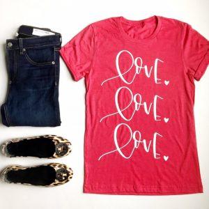 Cute Valentine's T-Shirt Love Love Love